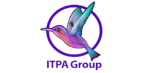 A logo with a colourful bird in a circle